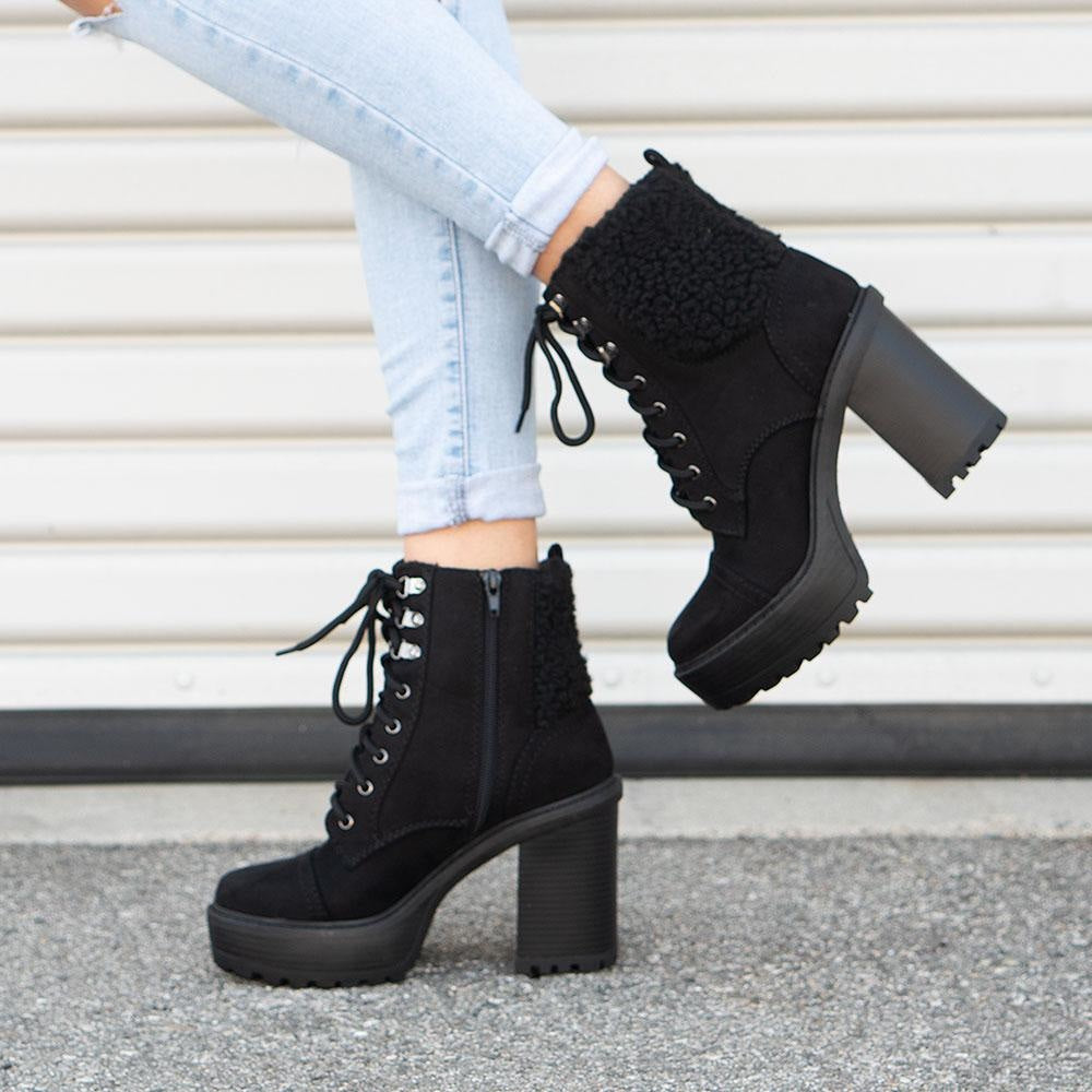 Women's Cozy Combat Booties - Soda Shoes - Black / 5