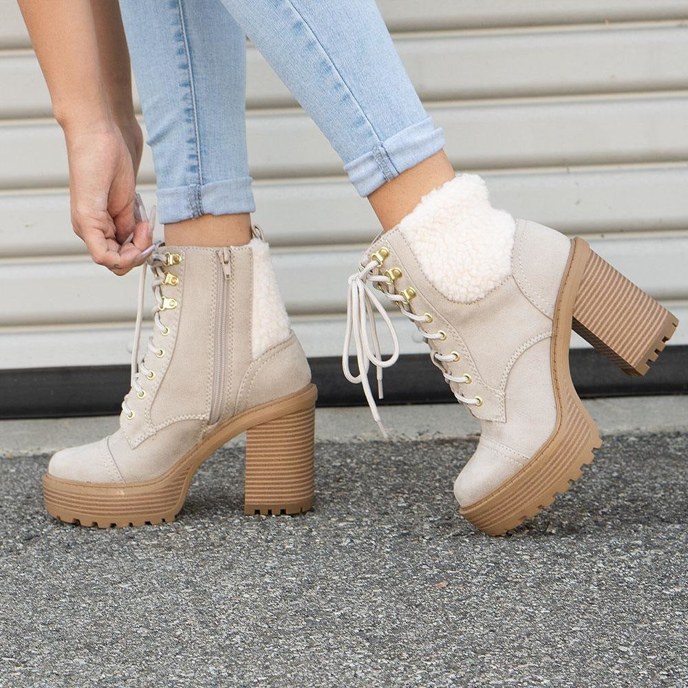 Women's Cozy Combat Booties - Soda Shoes - Ice / 5