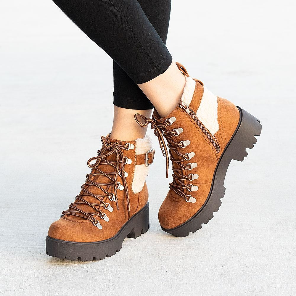 Women's Cozy Combat Styled Boots - Soda Shoes - Russet / 5