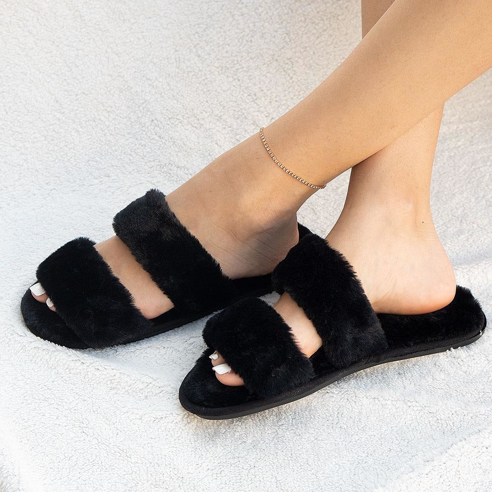 Women's Cozy Double-Banded Slides - Mixx Shoes - Black / 5