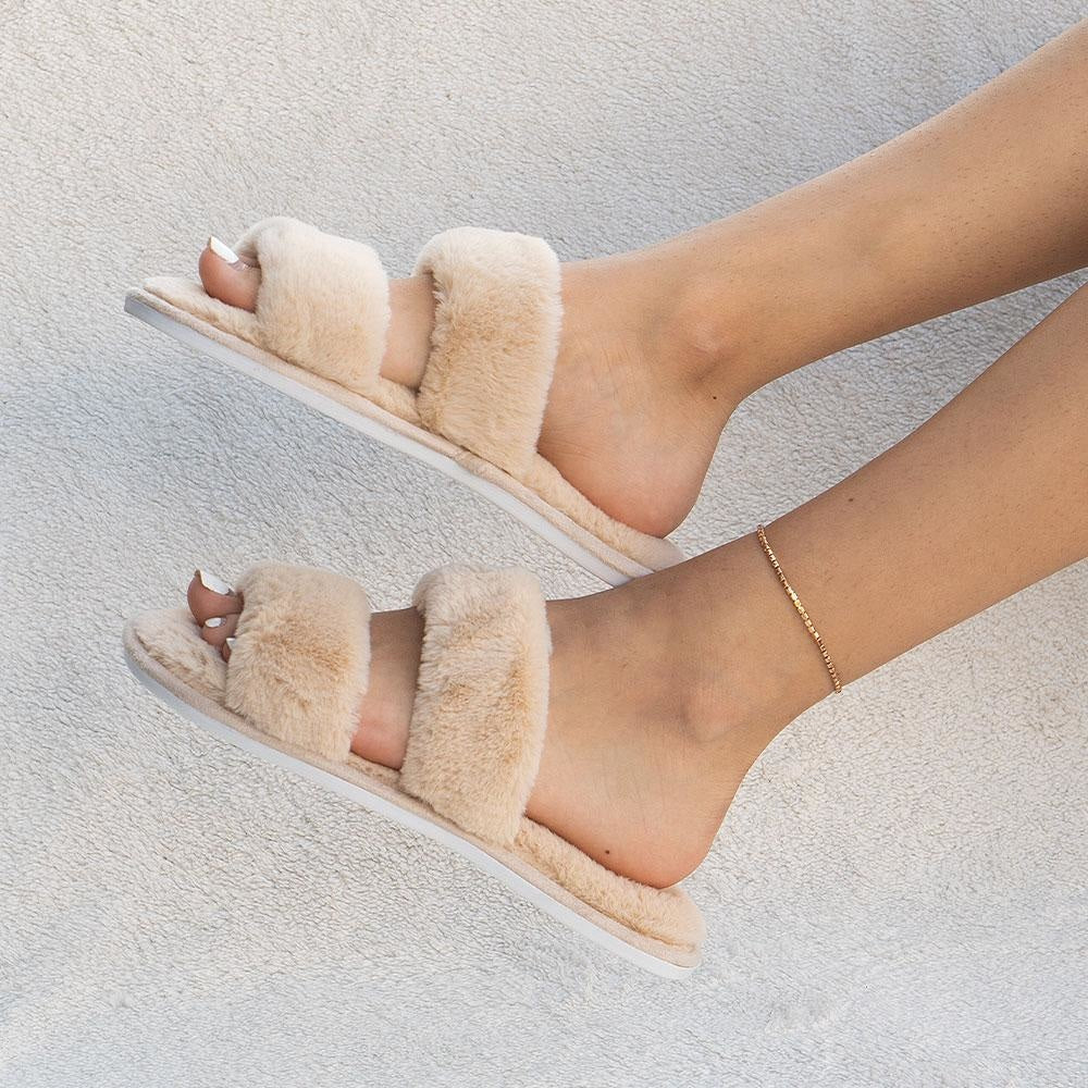 Women's Cozy Double-Banded Slides - Mixx Shoes - Nude / 5