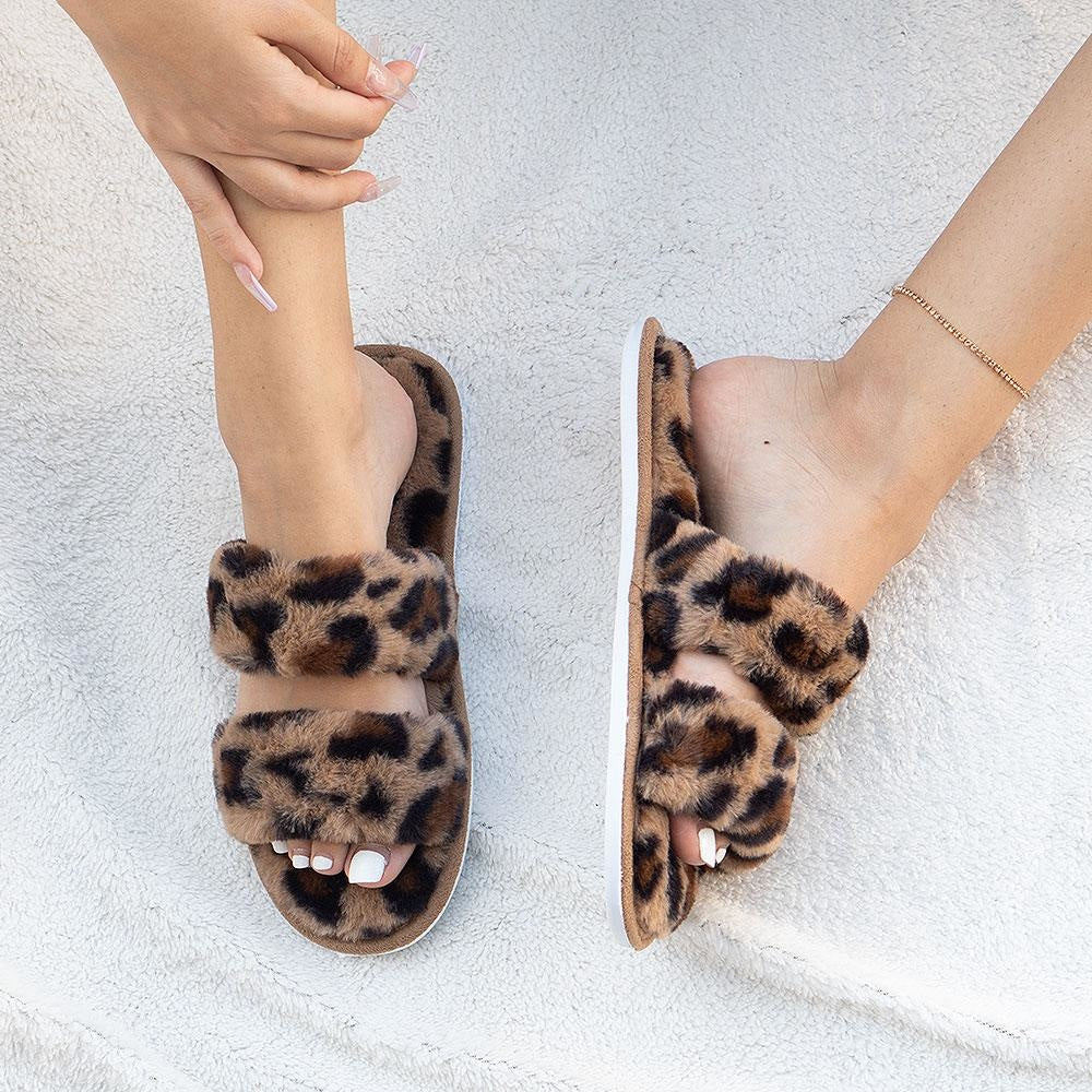 Women's Cozy Double-Banded Slides - Mixx Shoes - Leopard / 5