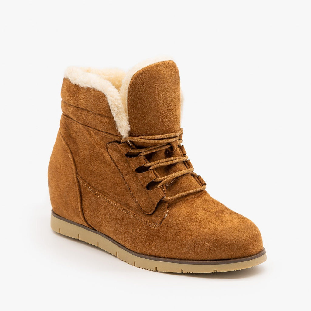 Womens Cozy Faux Fur Bootie Wedges - Lucita Shoes - Camel / 5