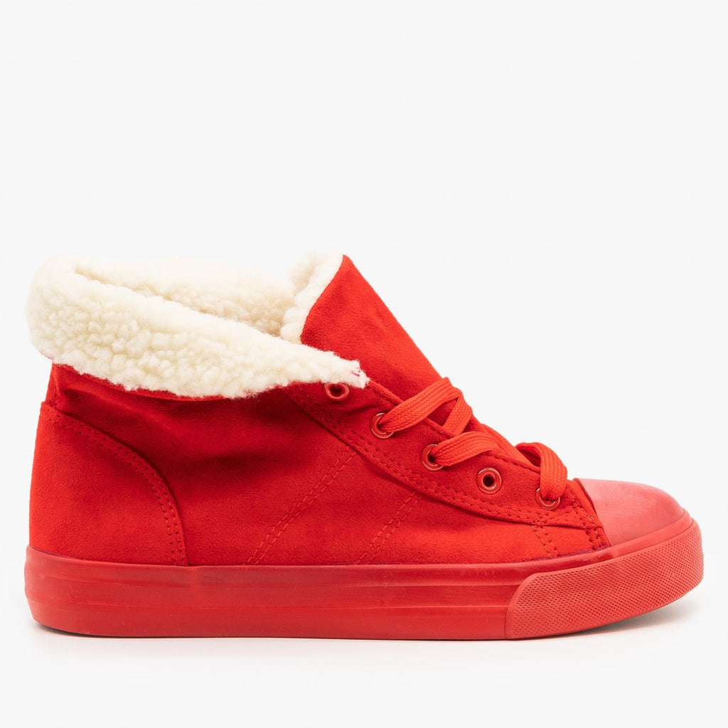Womens Cozy Faux Sherpa Fashion Sneakers - Via Pinky - Red / 5