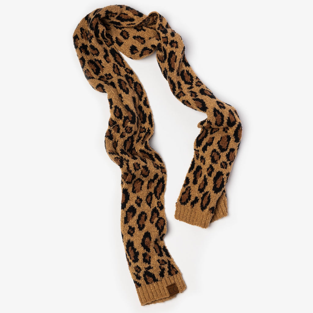 Womens Cozy Leopard CC Scarf - CC - Latte / One Size