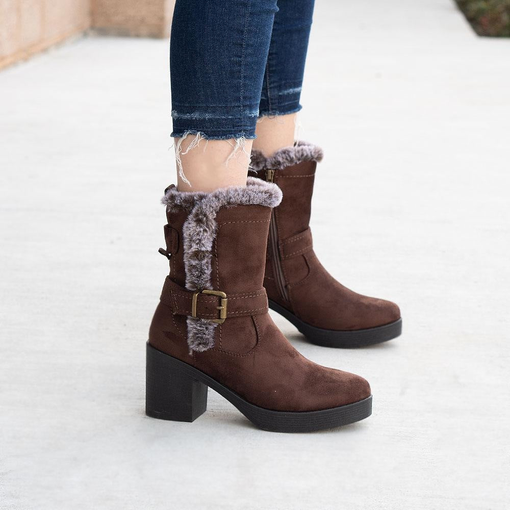 Women's Cozy Mid-Calf Booties - Forever - Brown / 5