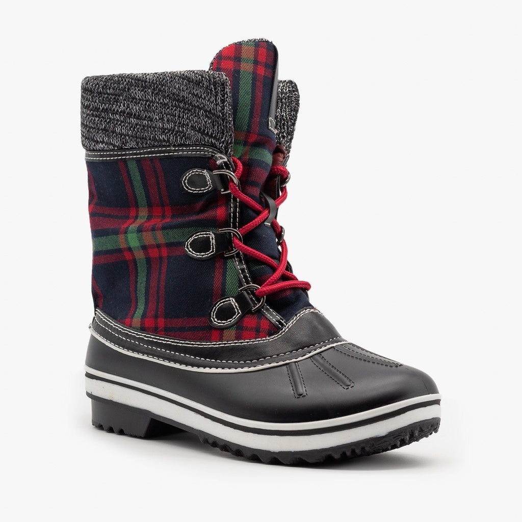 Womens Cozy Plaid Winter Boots - Forever - Green Plaid / 5