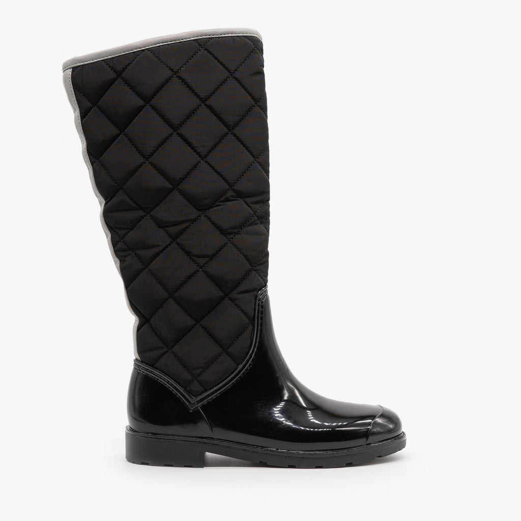 Womens Cozy Quilted Rain Boots - Weeboo - Black / 5