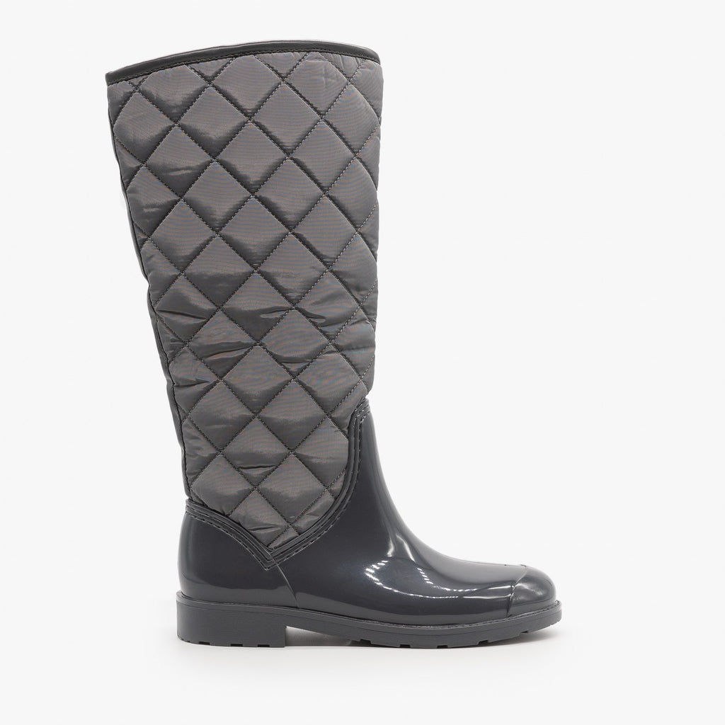 Womens Cozy Quilted Rain Boots - Weeboo - Gray / 5