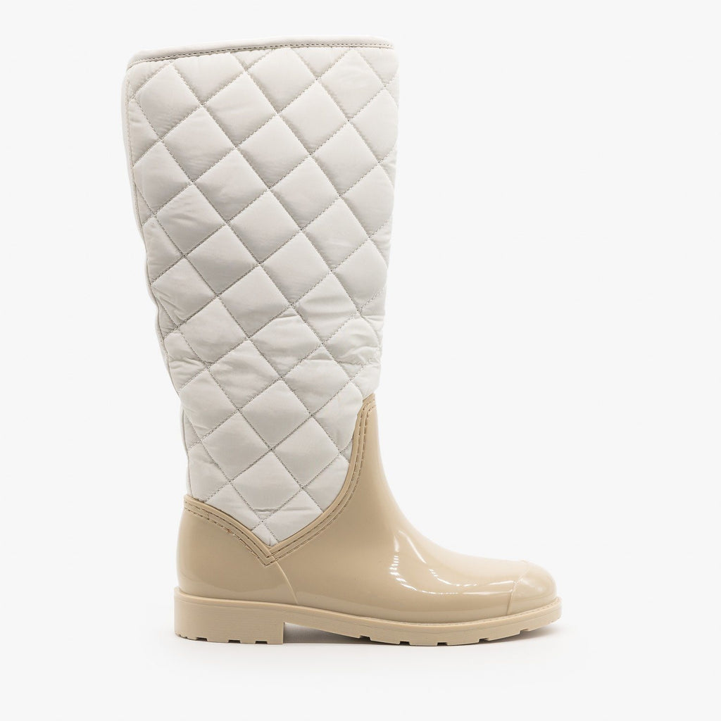 Womens Cozy Quilted Rain Boots - Weeboo - Beige / 5