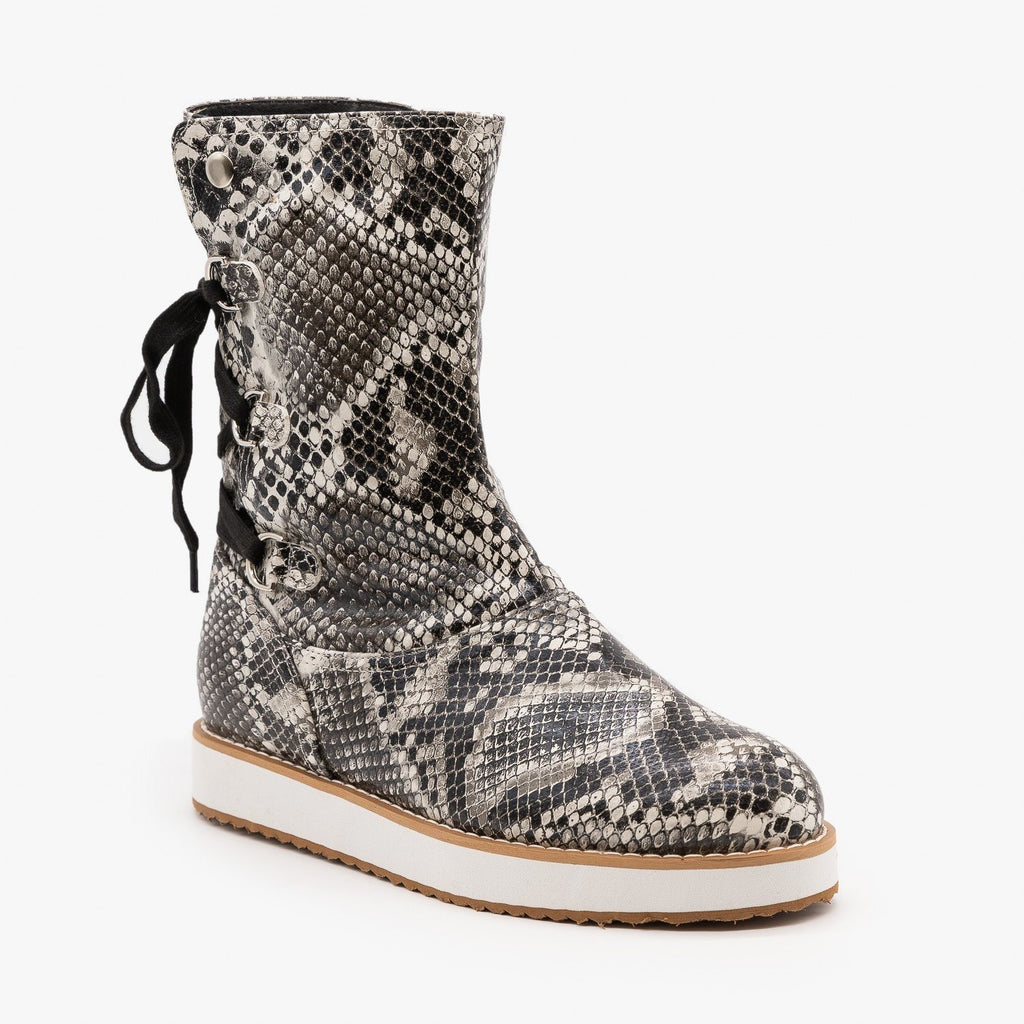 Womens Cozy Snake Print Fashion Boots - Mata - Black Snake / 5