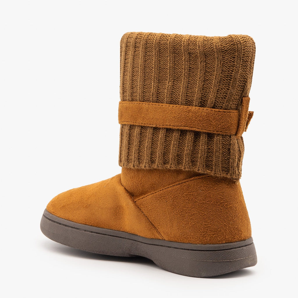 Womens Cozy Sweater-Cuffed Belted Booties - Bamboo Shoes