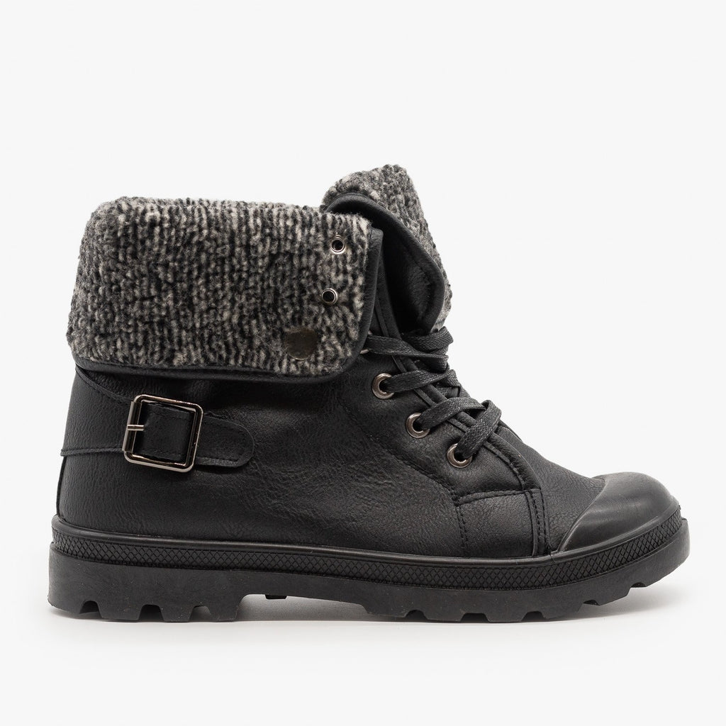 Womens Cozy Sweater Sneaker Boots - Refresh - Black / 5