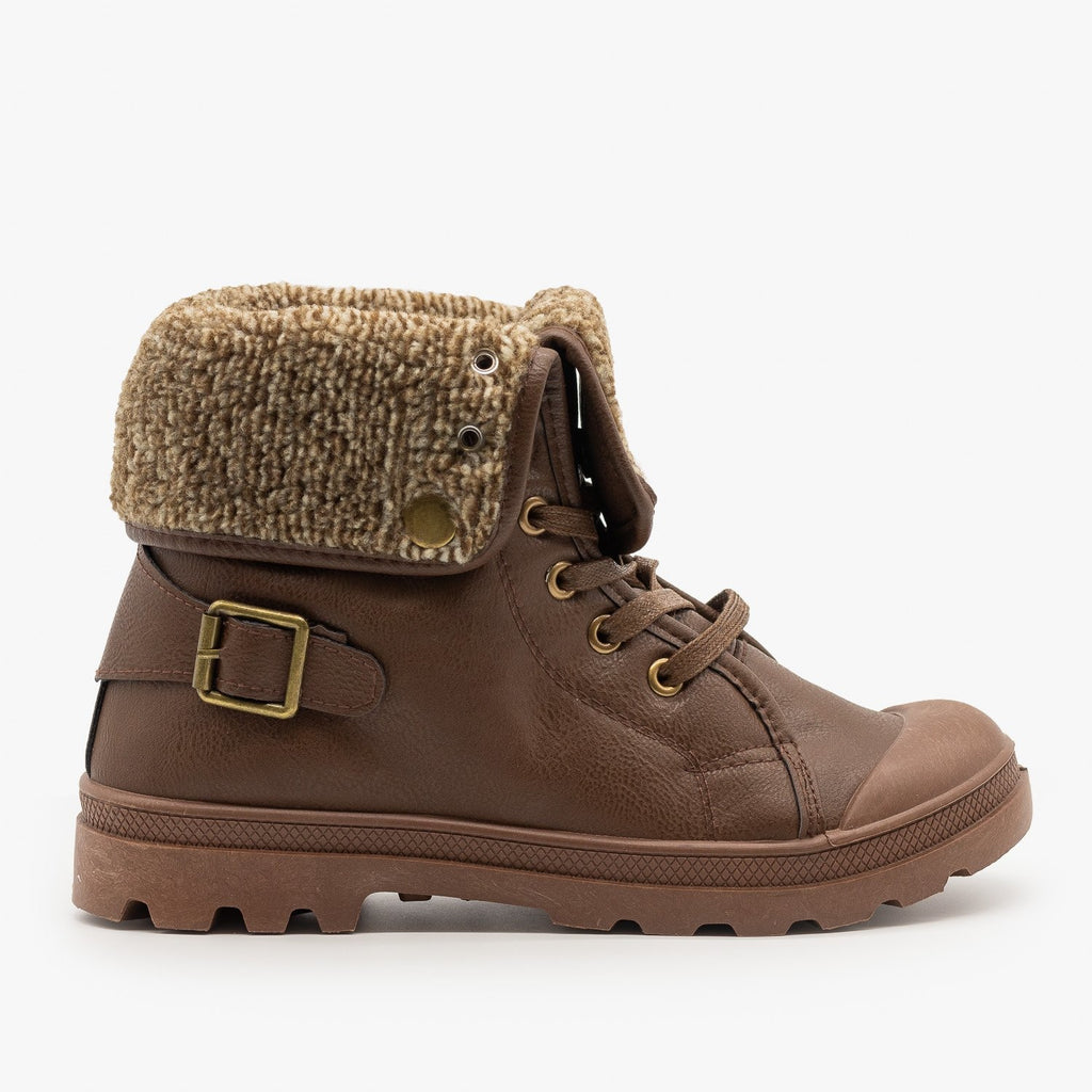 Womens Cozy Sweater Sneaker Boots - Refresh - Brown / 5