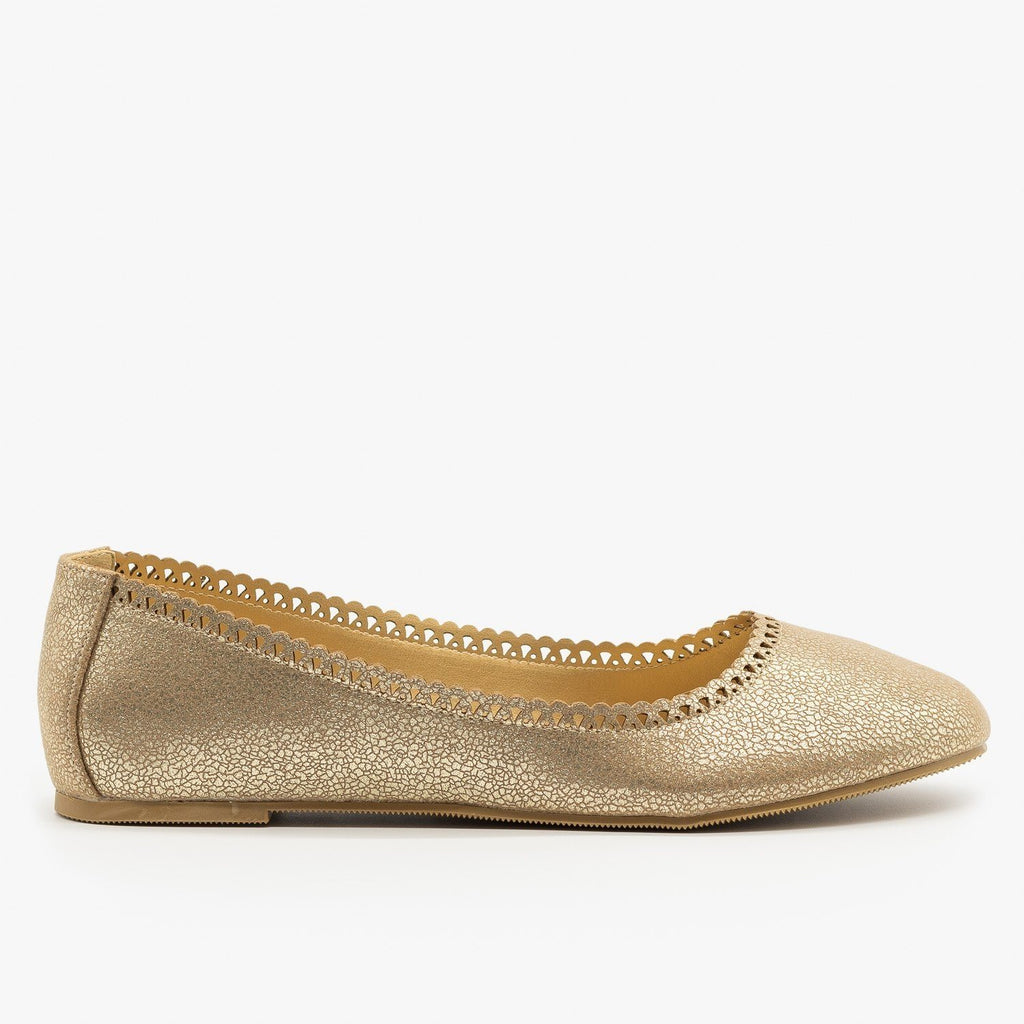 Womens Cracked Gold Ballet Flats - City Classified Shoes
