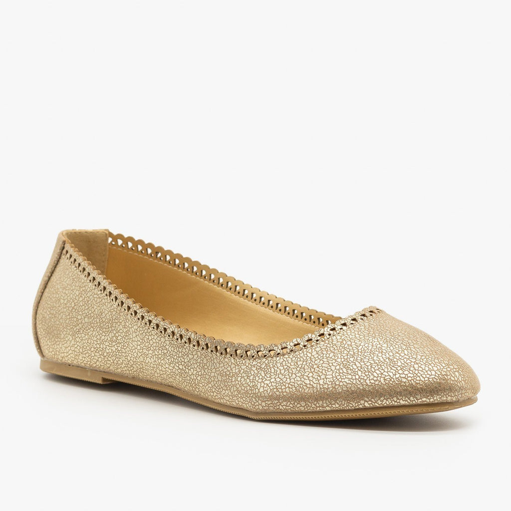 Womens Cracked Gold Ballet Flats - City Classified Shoes - Light Gold Crinkle / 5