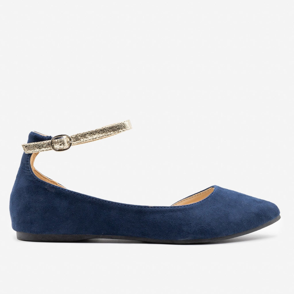 Women's Cracked Gold Strap Ballet Flats - ML Shoes - Navy / 5