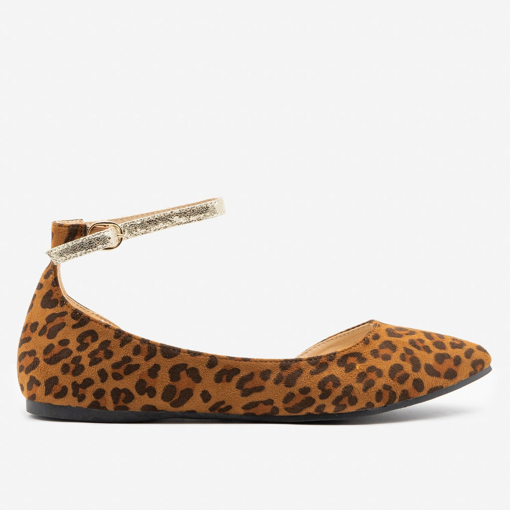 Women's Cracked Gold Strap Ballet Flats - ML Shoes - Leopard / 5