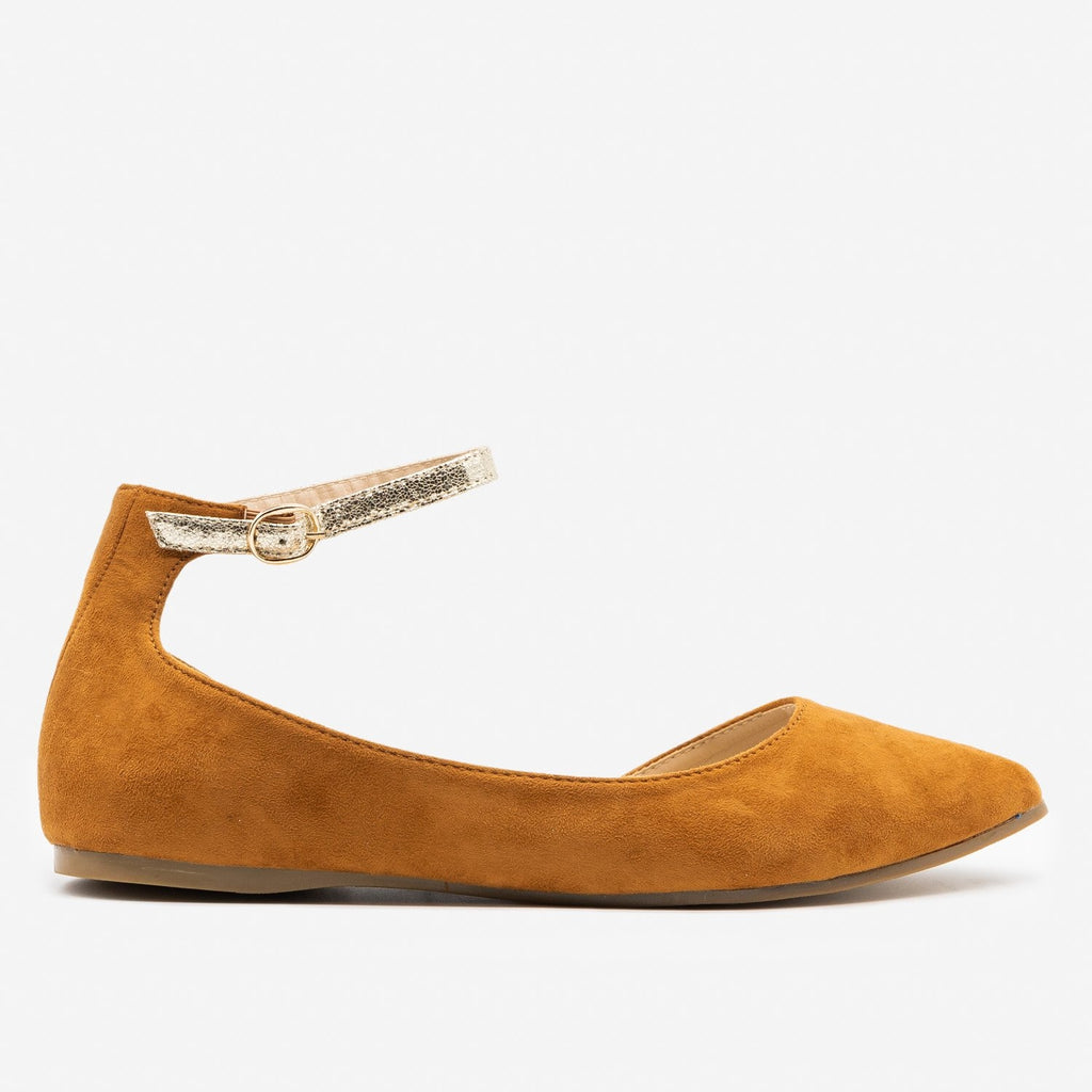Women's Cracked Gold Strap Ballet Flats - ML Shoes - Camel / 5