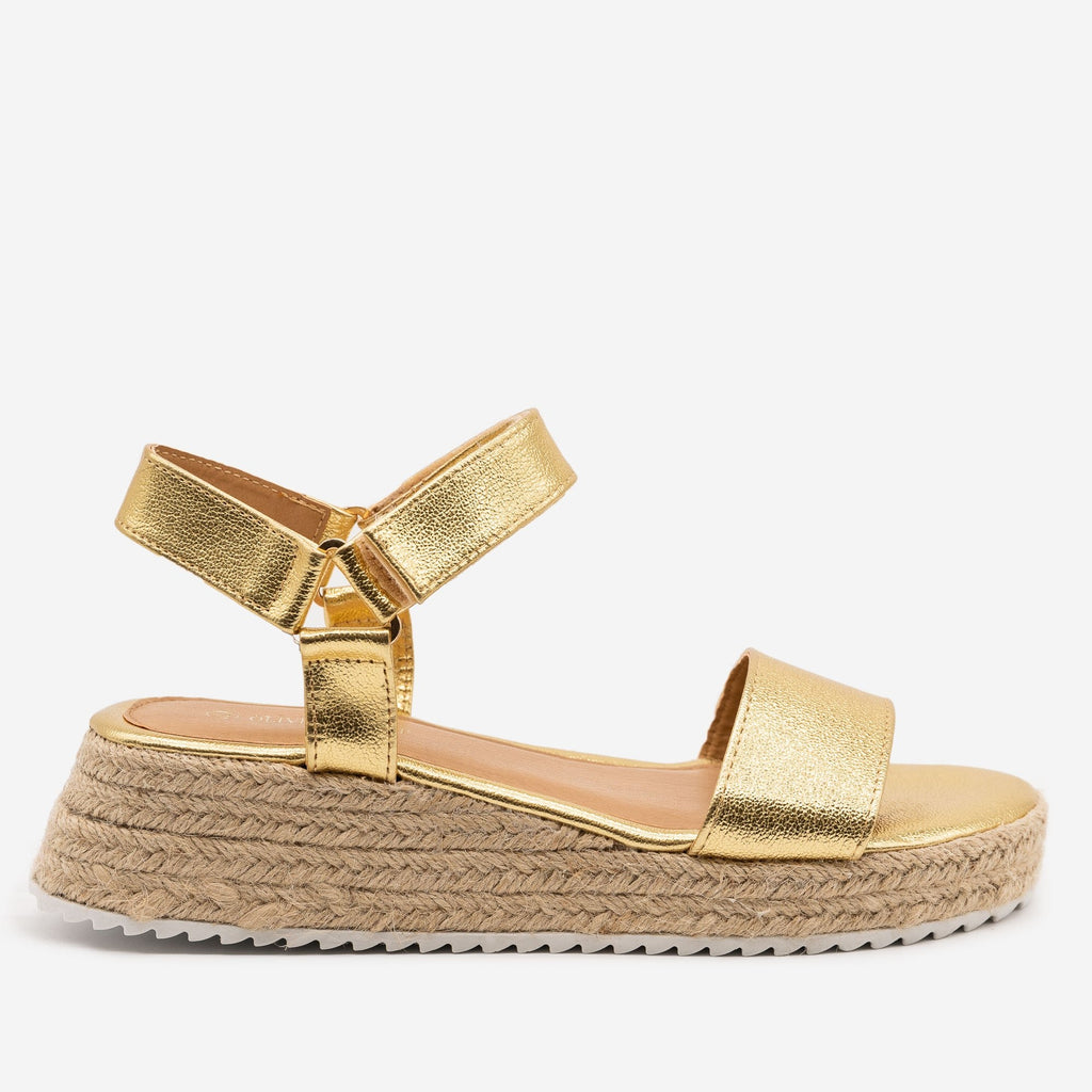 Women's Cracked Metallic Espadrille Sandals - Olivia Miller - Gold / 5