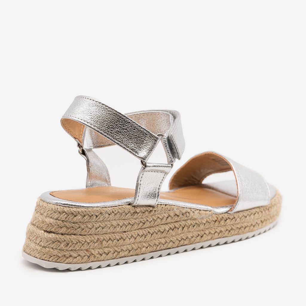 Women's Cracked Metallic Espadrille Sandals - Olivia Miller