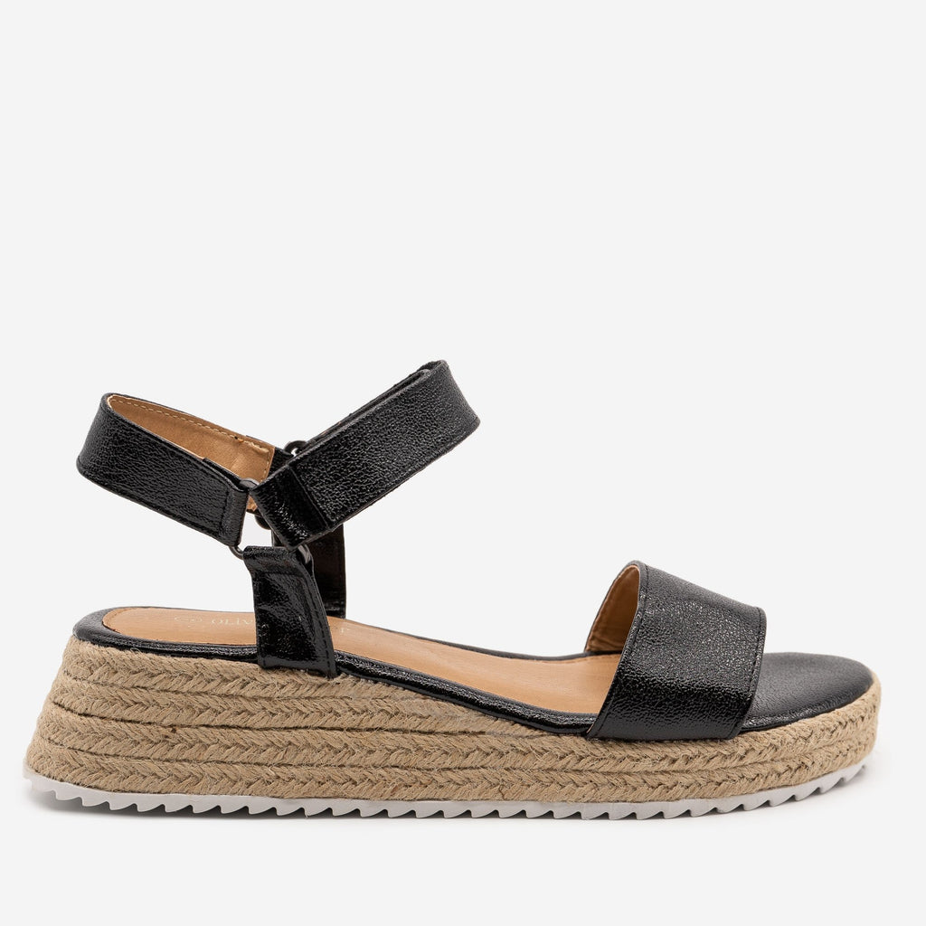 Women's Cracked Metallic Espadrille Sandals - Olivia Miller - Black / 5