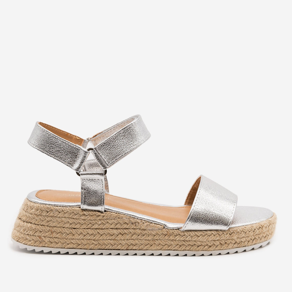 Women's Cracked Metallic Espadrille Sandals - Olivia Miller - Silver / 5
