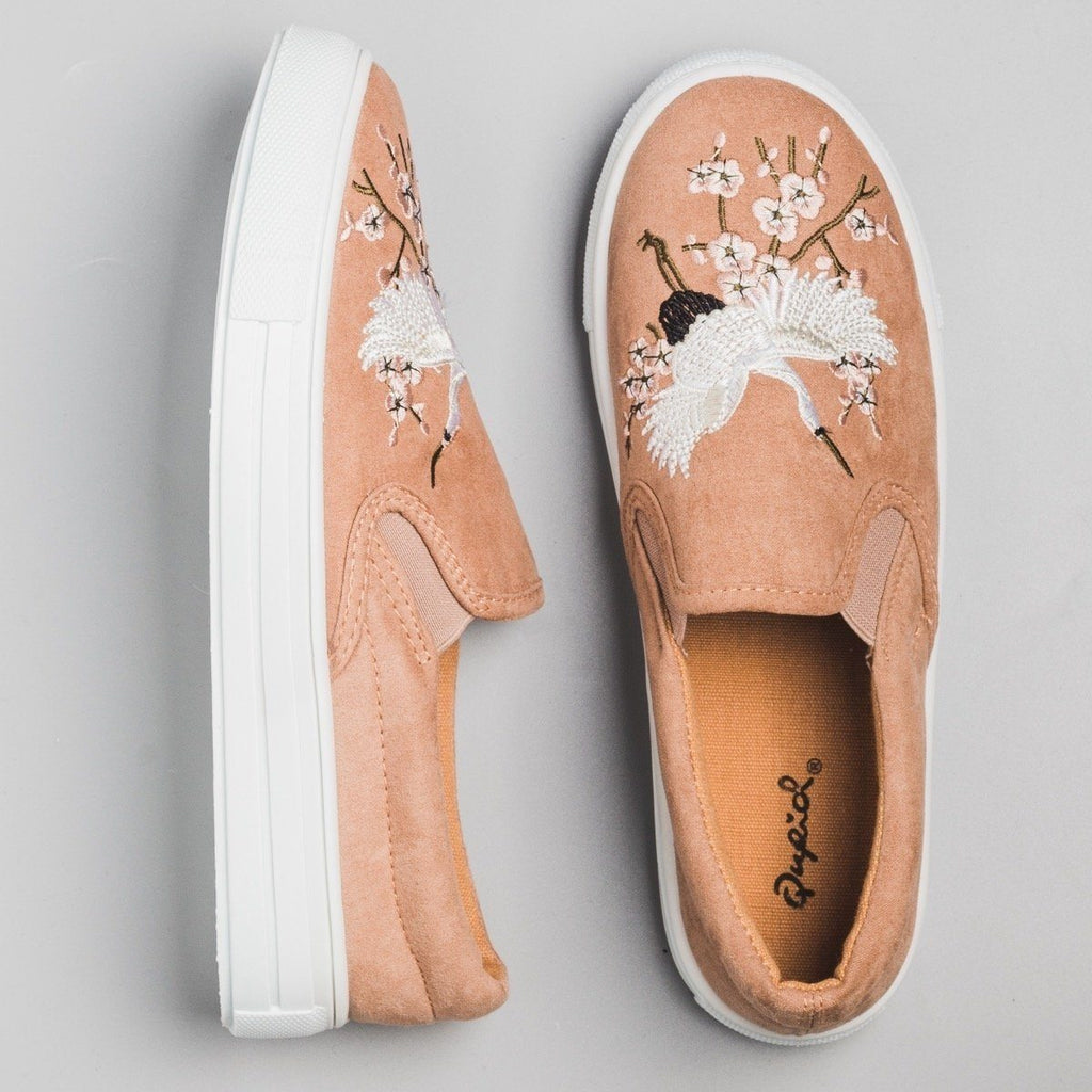 Womens Crane Embroidered Slip On Sneakers - Qupid Shoes