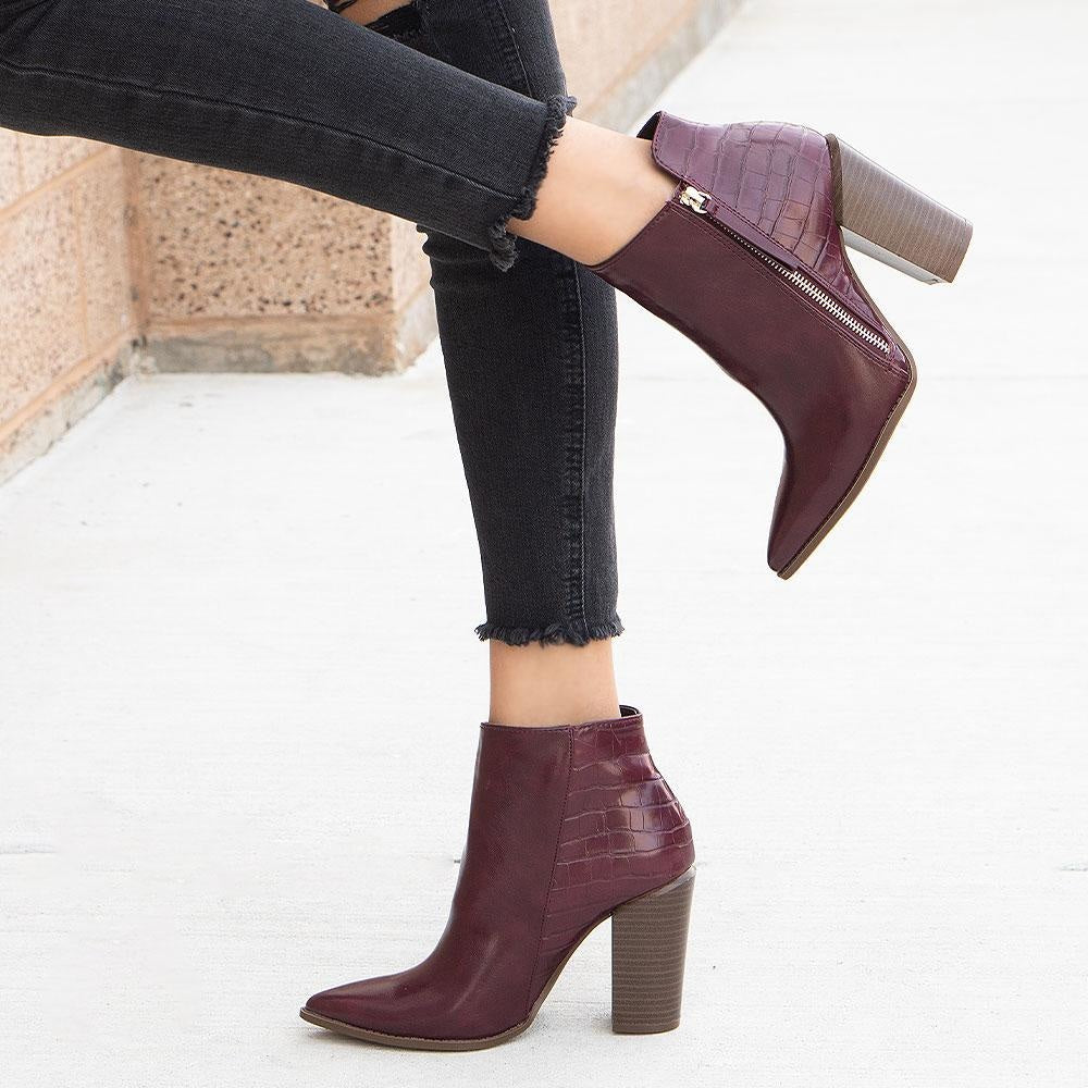 Women's Crinkled Pointed Toe Booties - Qupid Shoes - Burgundy / 5