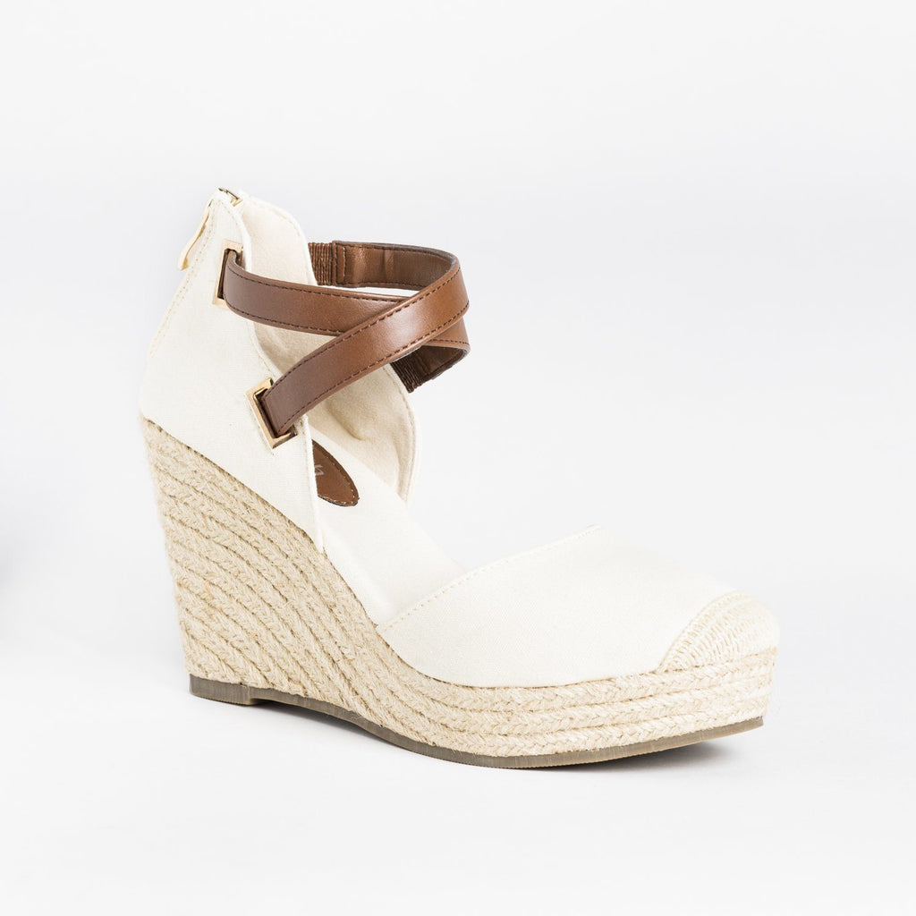 Womens Criss-Cross Ankle Strap Espadrille Wedges - Refresh - Beige / 5