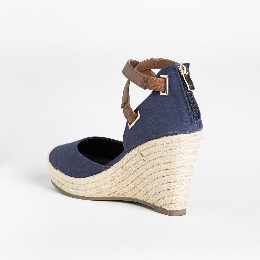 Womens Criss-Cross Ankle Strap Espadrille Wedges - Refresh