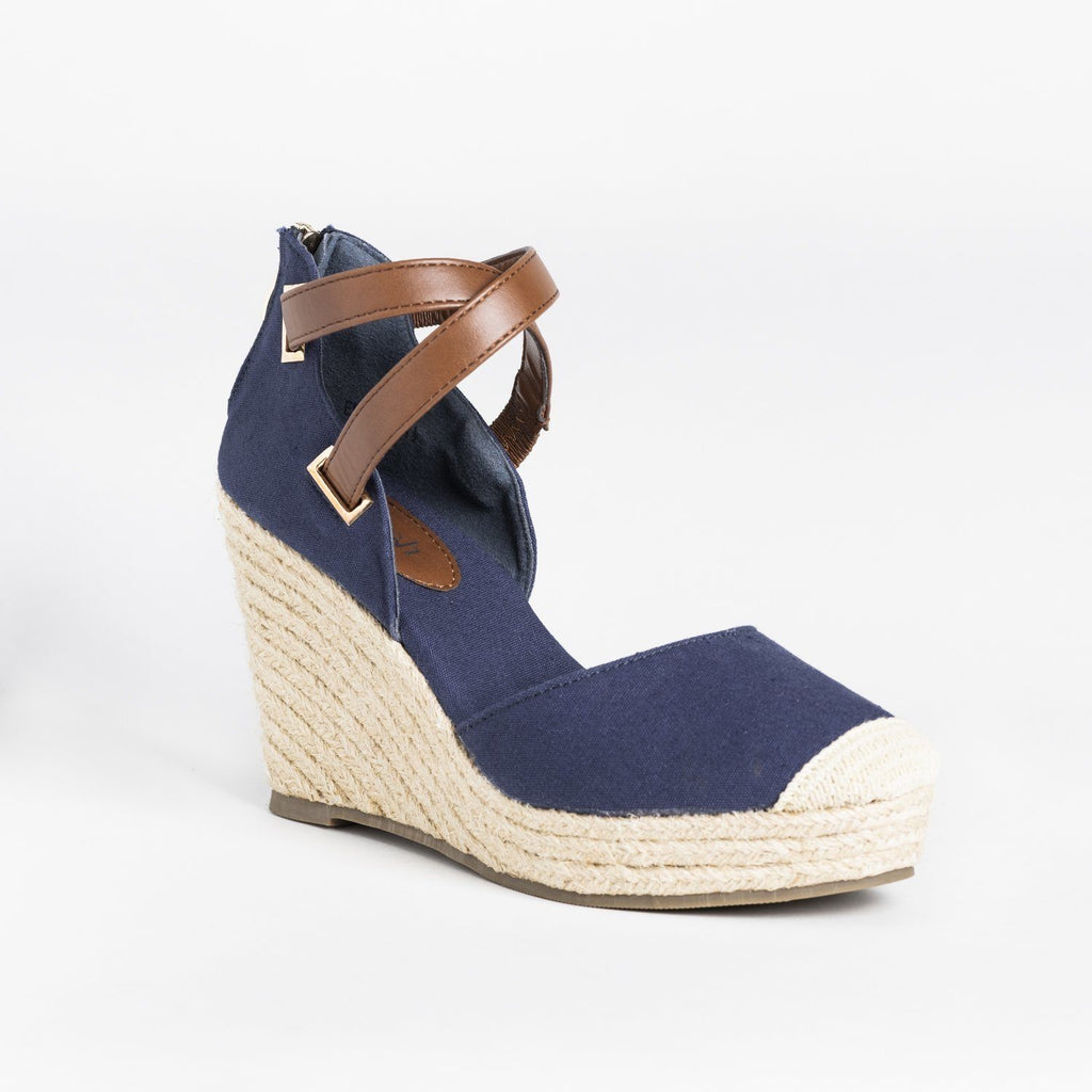 Womens Criss-Cross Ankle Strap Espadrille Wedges - Refresh - Denim / 5