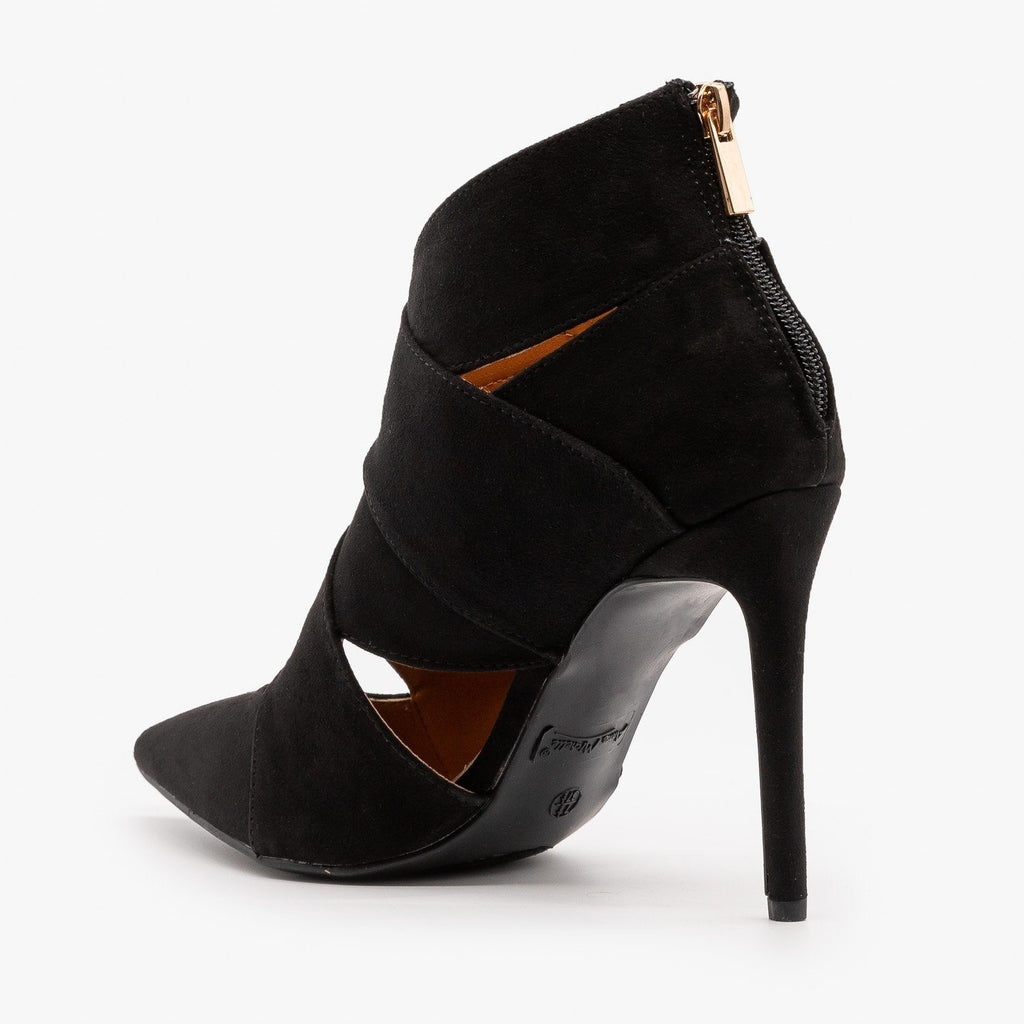 Womens Criss-Cross Black Stiletto Booties - Anne Michelle