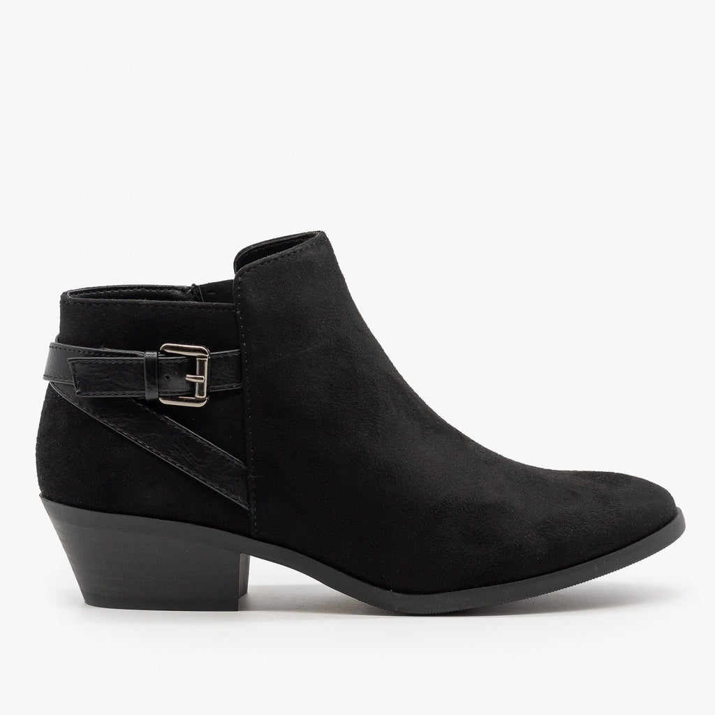 Womens Criss Cross Buckle Bootie - Soda Shoes - Black / 5