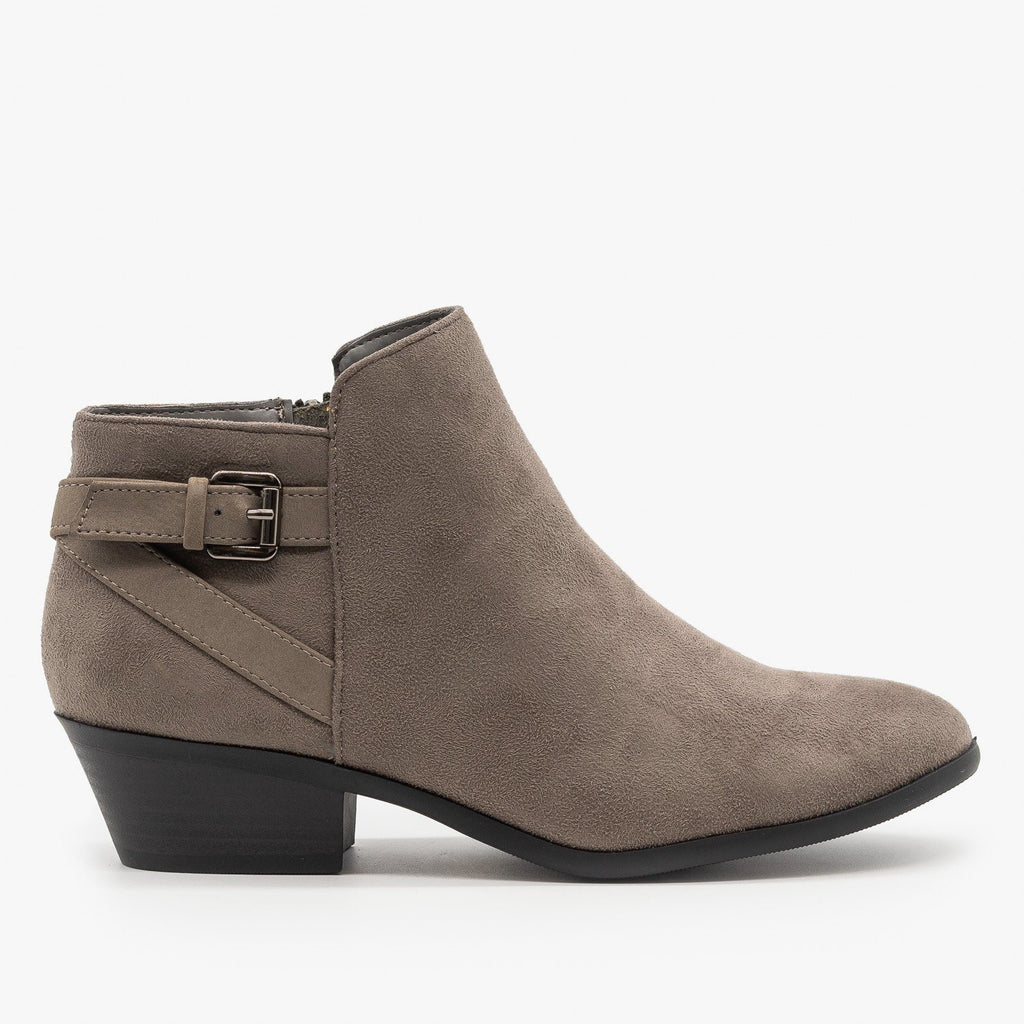 Womens Criss Cross Buckle Bootie - Soda Shoes - Smokey Gray / 5