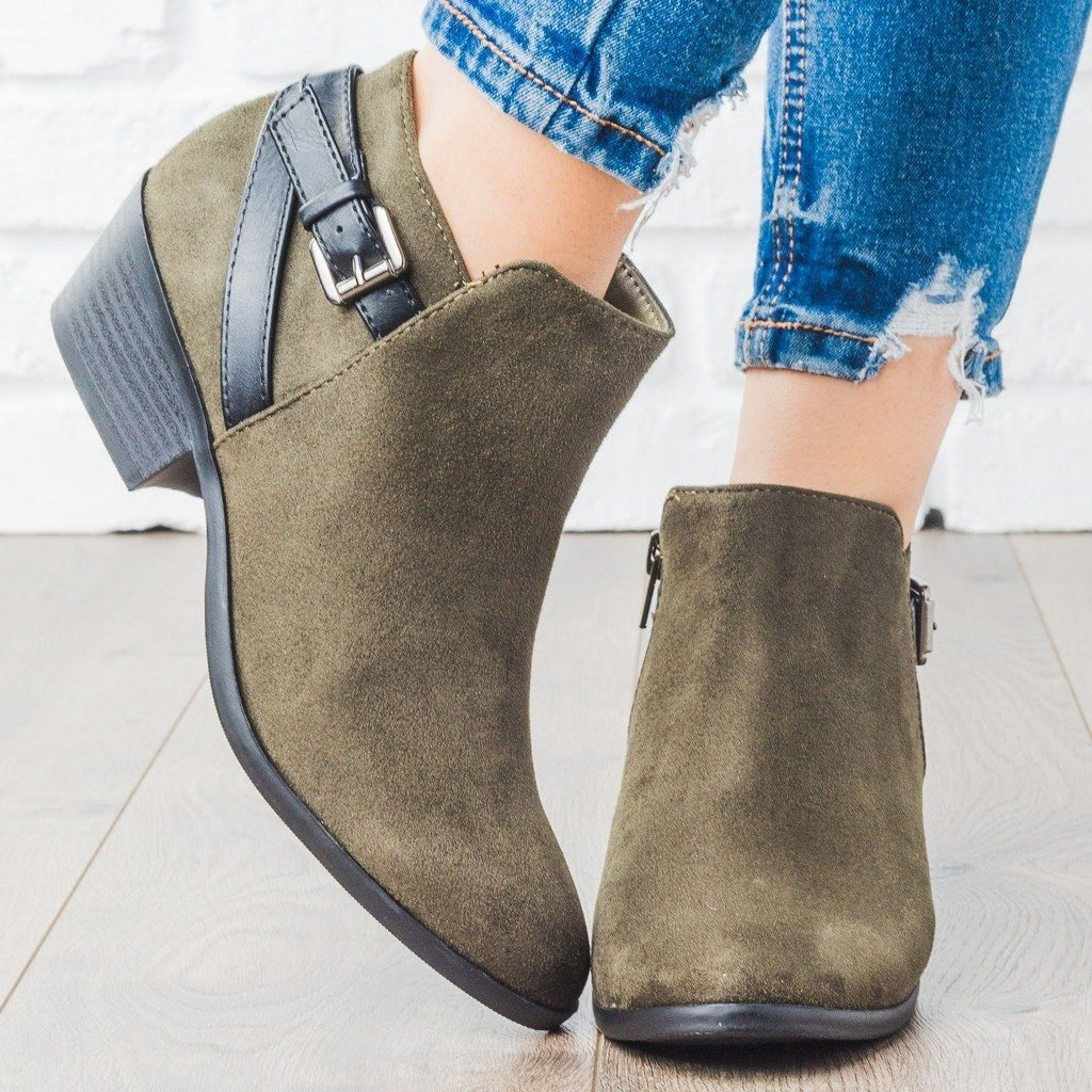 Womens Criss Cross Buckle Bootie - Soda Shoes - Khaki / 5