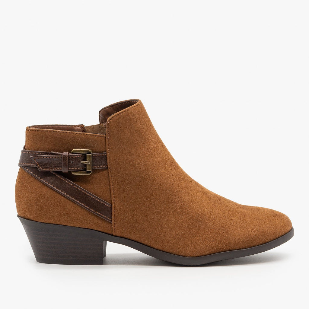 Womens Criss Cross Buckle Bootie - Soda Shoes - Cognac / 5
