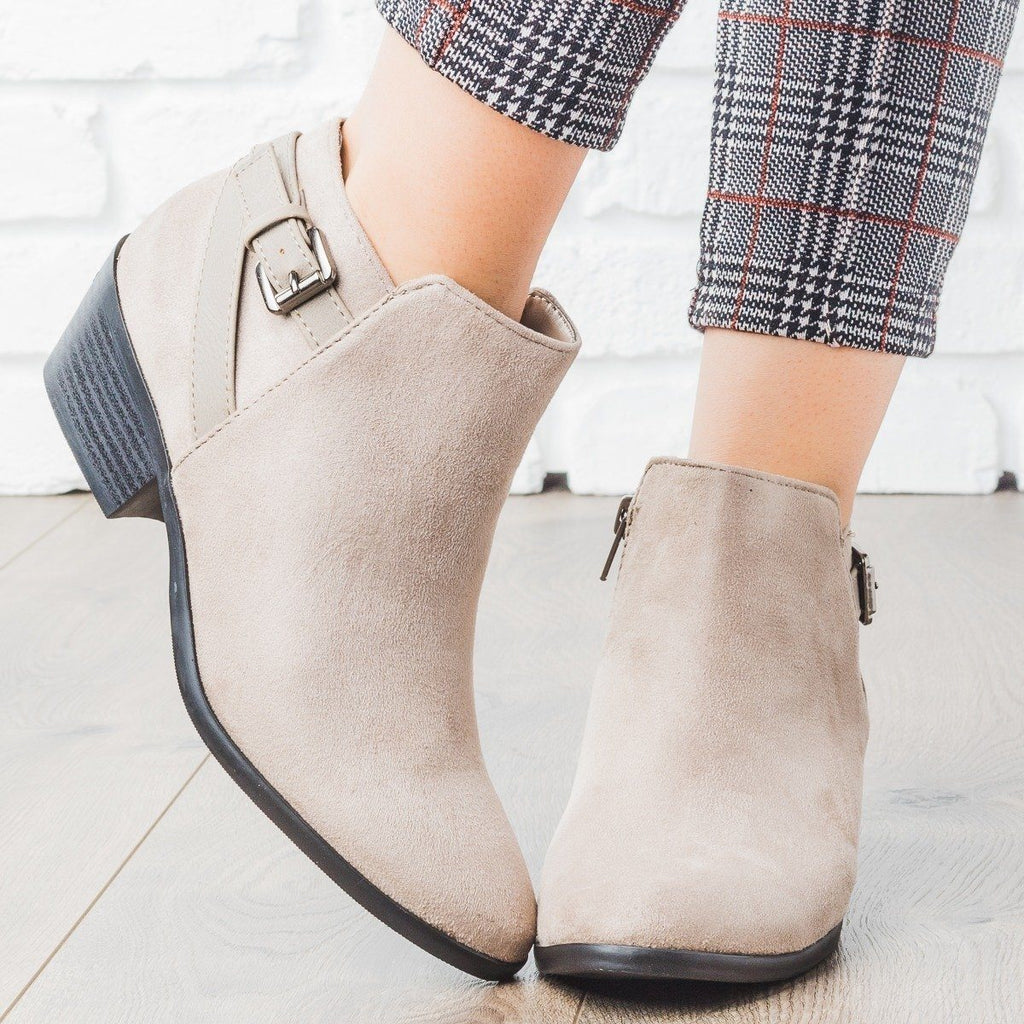 Womens Criss Cross Buckle Bootie - Soda Shoes - Clay / 5