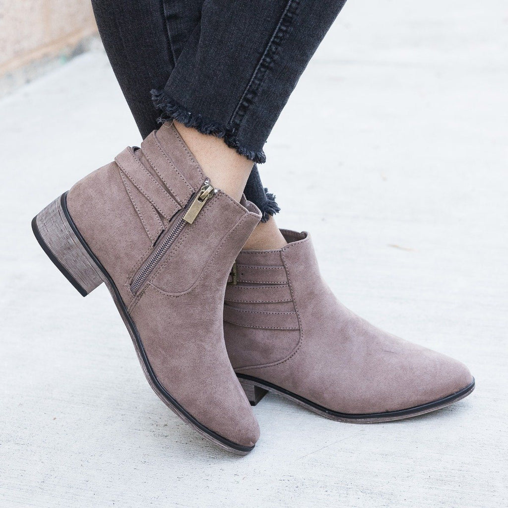 Womens Criss Cross Buckle Booties - Bamboo Shoes