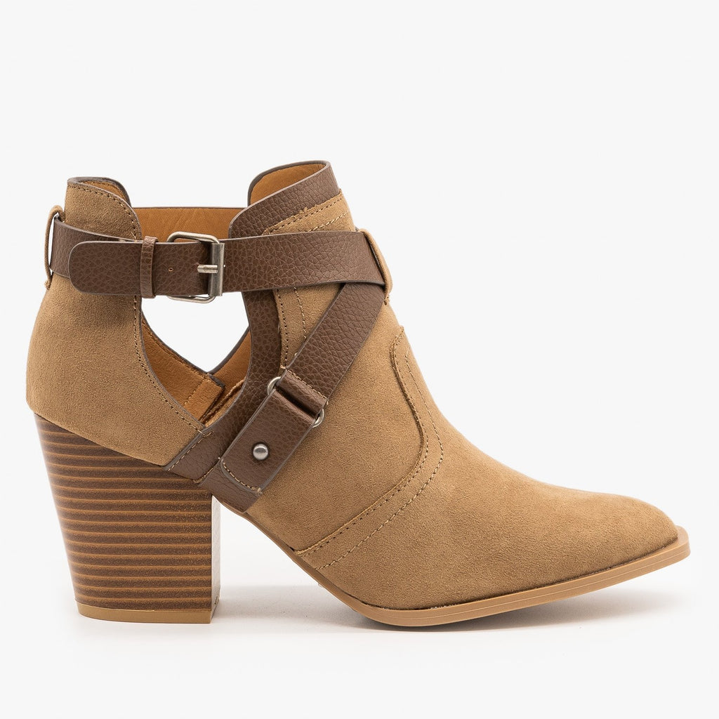Womens Criss Cross Buckle Strap Booties - Qupid Shoes - Taupe / 5