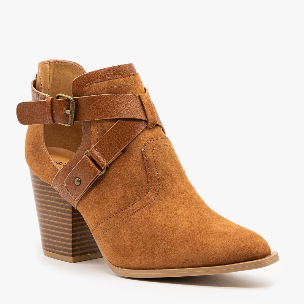 Womens Criss Cross Buckle Strap Booties - Qupid Shoes
