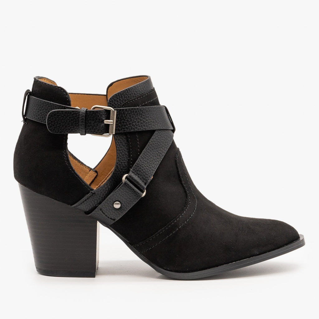 Womens Criss Cross Buckle Strap Booties - Qupid Shoes - Black / 5