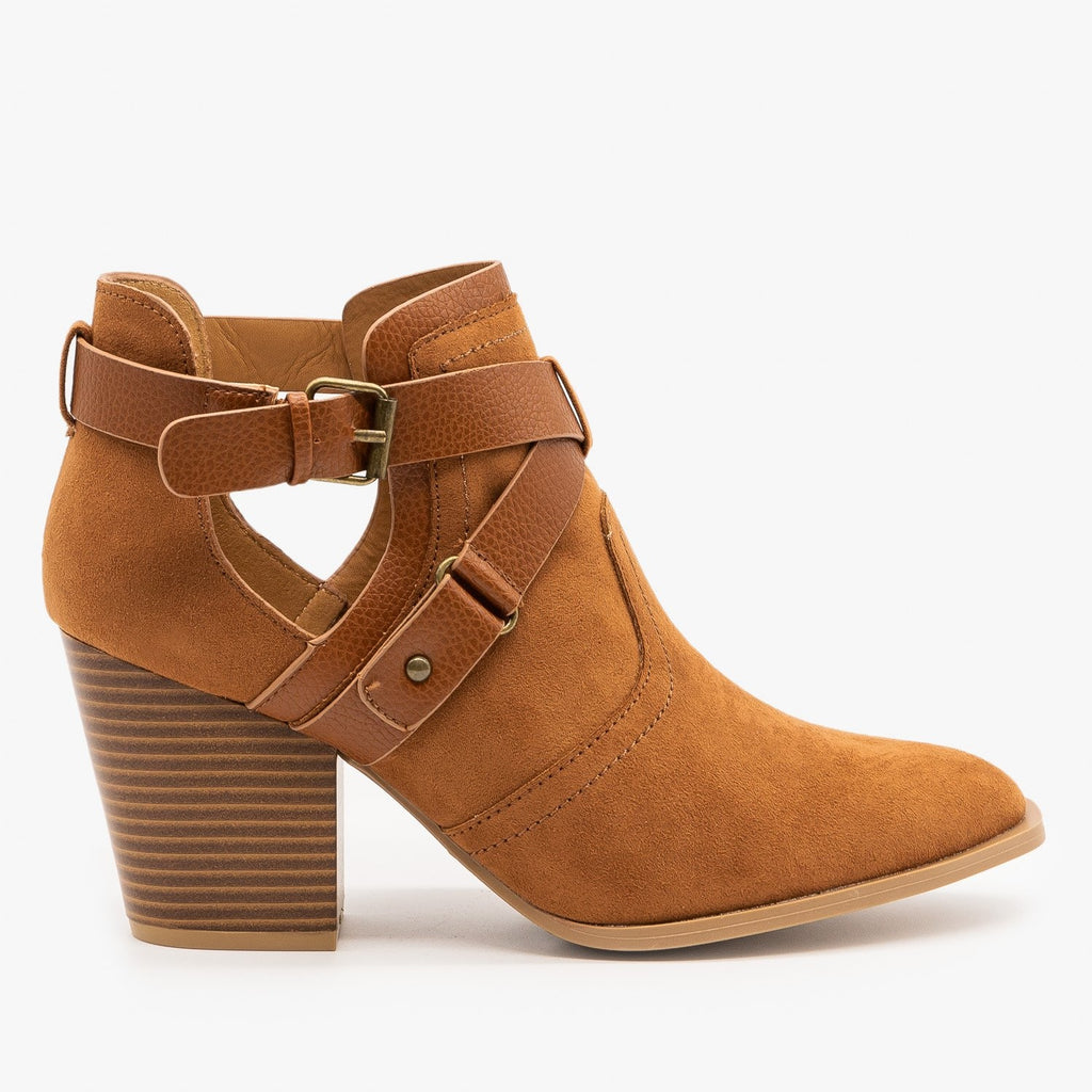 Womens Criss Cross Buckle Strap Booties - Qupid Shoes - Camel / 5