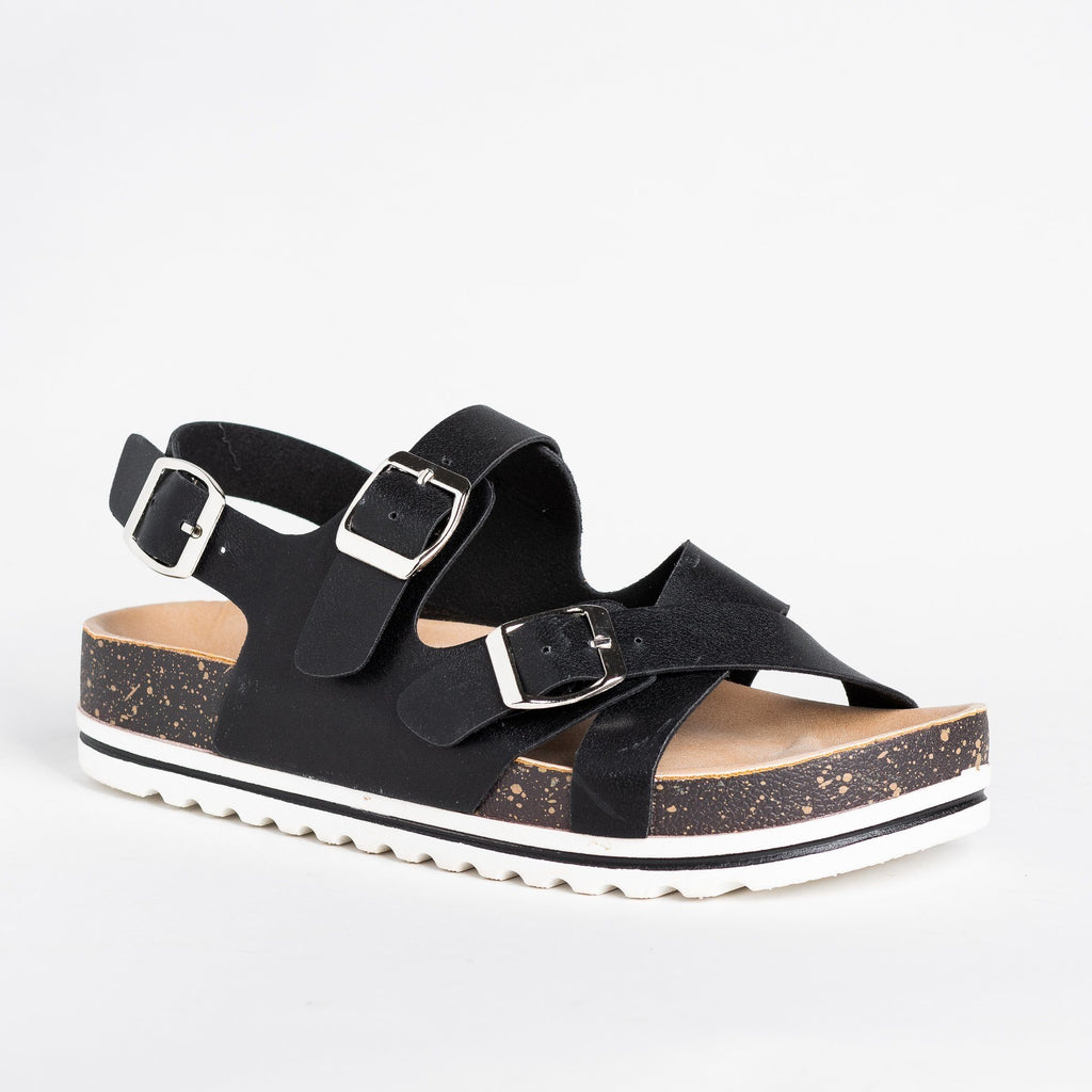 Womens Criss Cross Buckled Cork Sandals - Nature Breeze - Black / 5