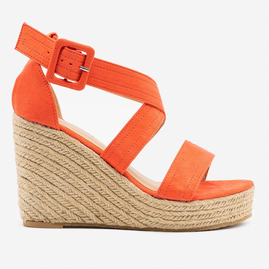 Women's Criss-Cross Buckled Espadrille Wedges - Refresh - Coral / 5