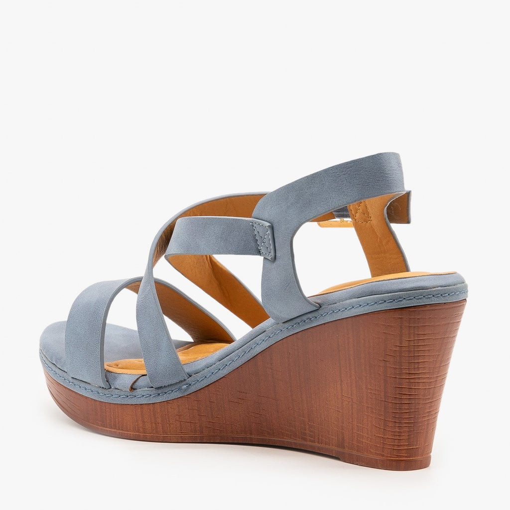 Womens Criss Cross Buckled Sandal Wedges - Bella Marie
