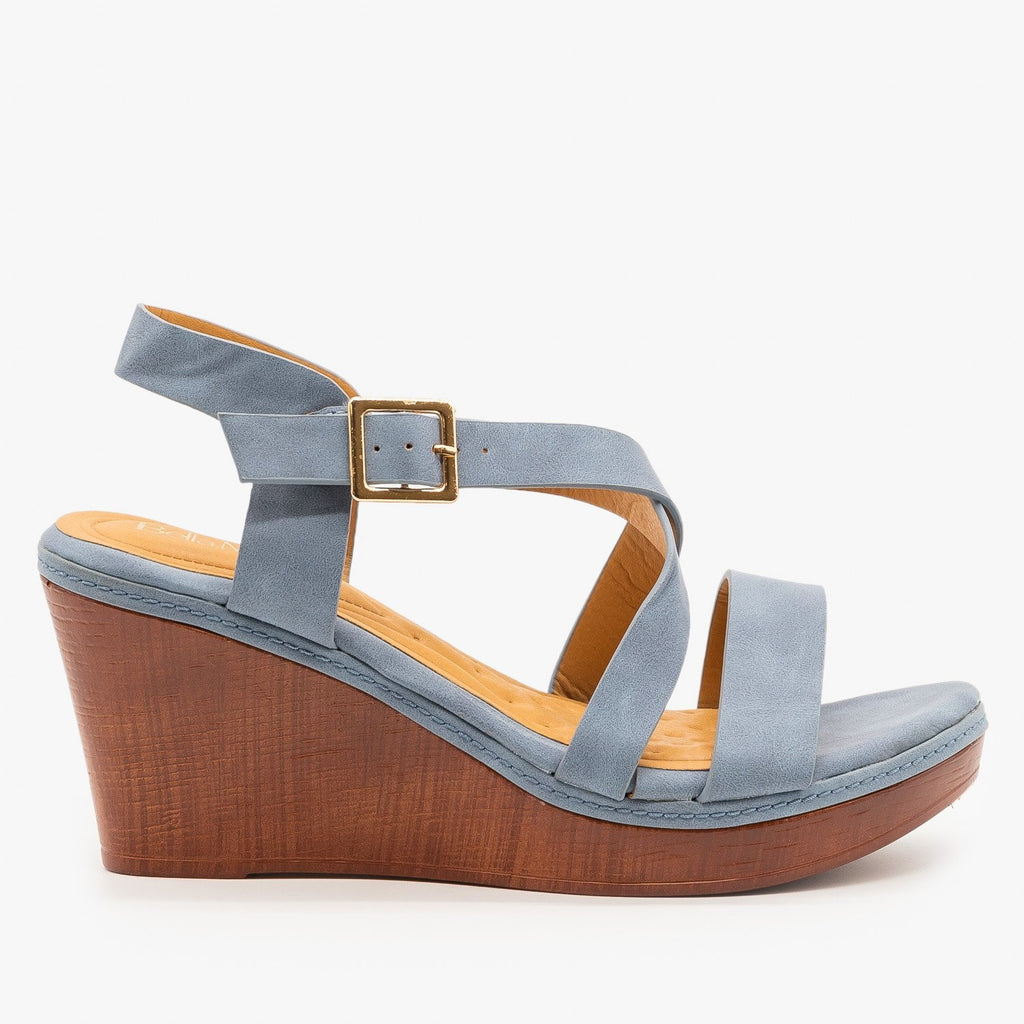Womens Criss Cross Buckled Sandal Wedges - Bella Marie - Blue / 5