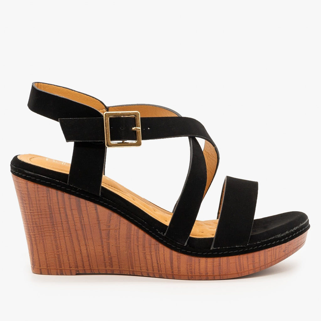 Womens Criss Cross Buckled Sandal Wedges - Bella Marie - Black / 5