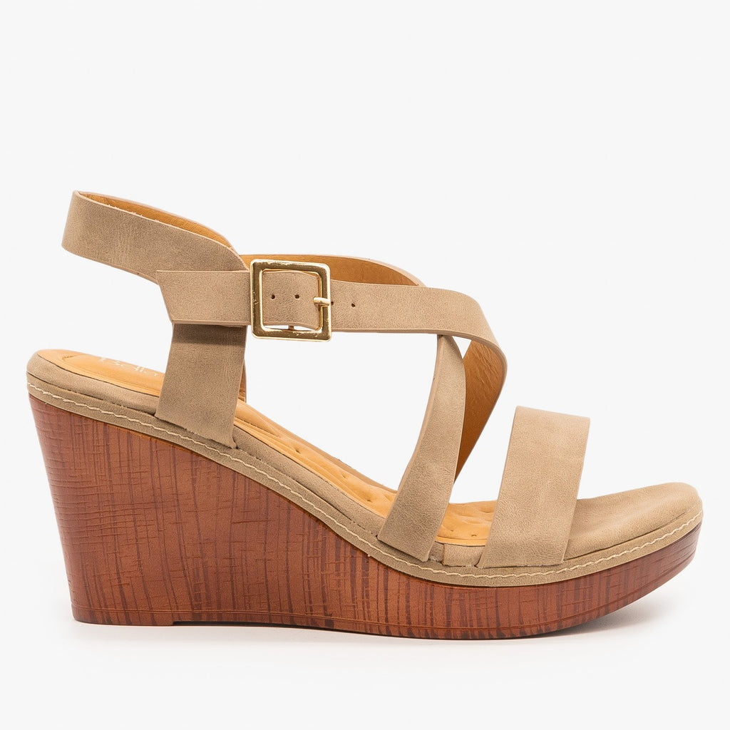 Womens Criss Cross Buckled Sandal Wedges - Bella Marie - Taupe / 5