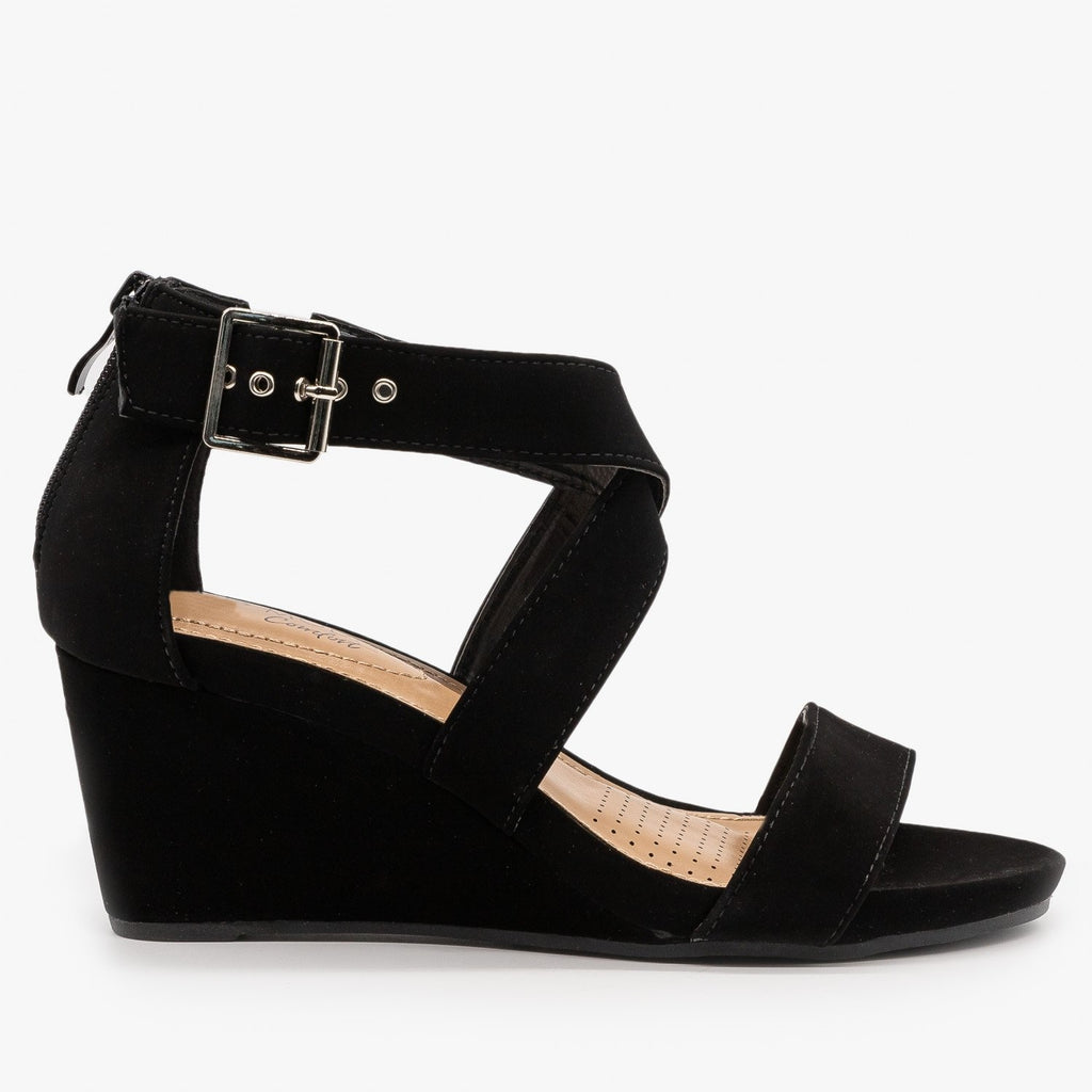 Womens Criss-Cross Buckled Strap Wedges - Top Moda - Black / 5